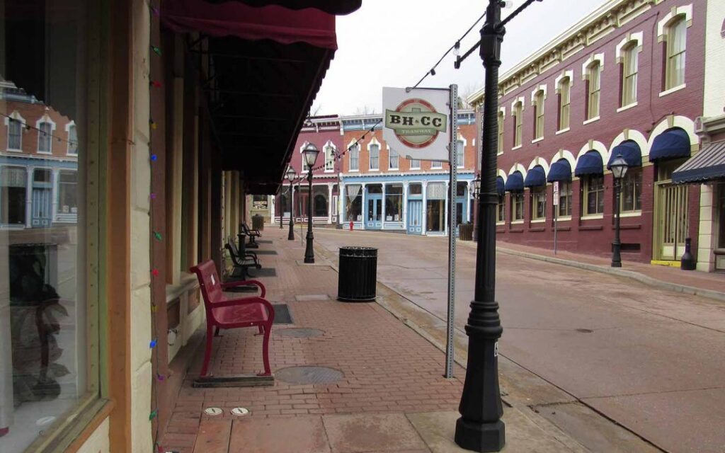 Streets are empty in Central City, with casinos shuttered and hundreds of workers laid off. The pandemic is bad news for the state's new sports-betting tax, which was to have helped fund the Colorado Water Plan. April 21, 2020. Credit: Jerd Smith