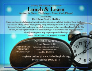 Lunch & Learn: Autism & Sleep Challenges @ Including Kids Autism Center