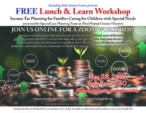 Lunch & Learn: Income Tax Planning for Families Caring for Children with Special Needs @ Online through Zoom