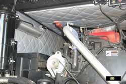 Fiberglass composite used in soundproofing a diesel engine