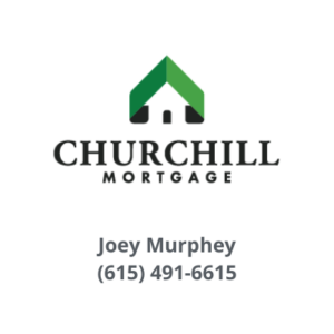 Church hill mortgage logo with Joey Murphey's name and his phone number 615 491 6615 below the logo