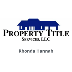 Property Title Services LLC logo with Rhonda Hannah name underneath