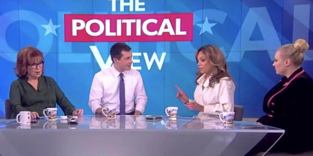 "Mr. Buttigieg being pressed on his ""Progressive Stance on Abortion"" (Left Joy Behar)  (Buttigieg)  (Sunny Hostin)  ( Right Meghan McCain )"