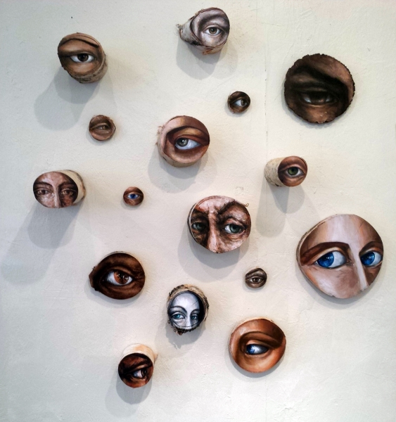 "Private Eyes -An Installation, acrylic on birch, walnut, and aspen branch slices. 60x60"" Sold"