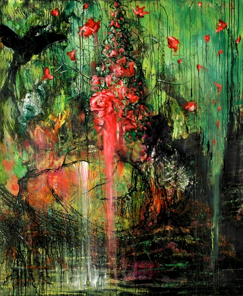Bleeding Heart, acrylic on canvas. 60x50""