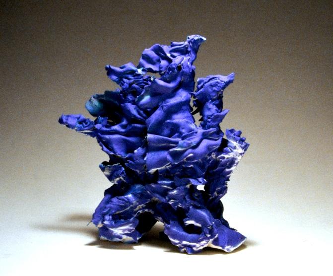 "Blue Wind, barium cobalt glazed earthenware. 18x16x9"""