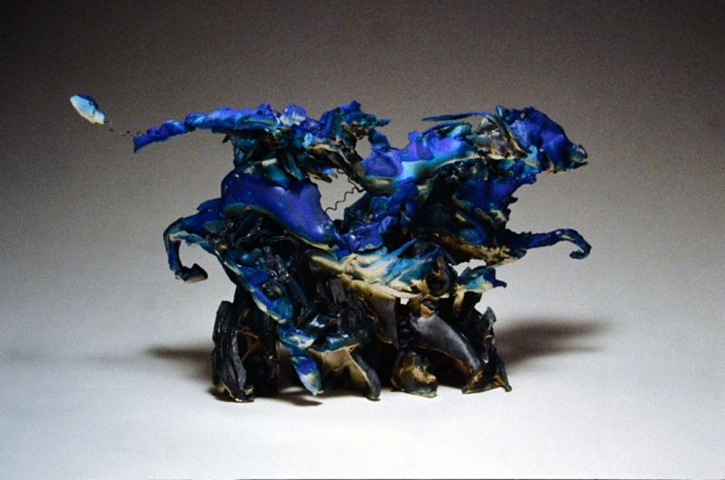 "Gallop, barium cobalt glazed earthenware over kiln wire armature. 13x21x9"""