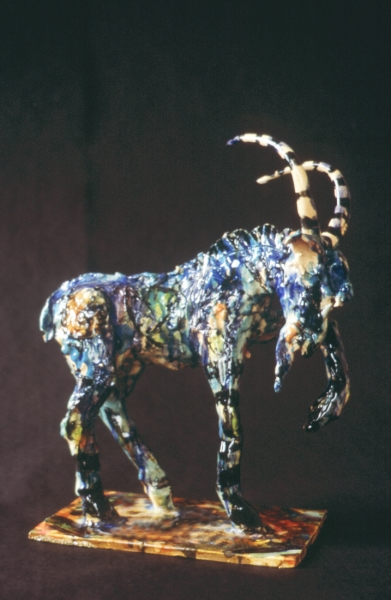 "Blue Goat, glazed earthenware. 14x13x6"" Private Collection"