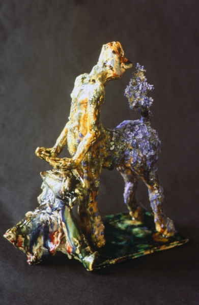 """Metamorphosis, multiple fired glazed earthenware. 14x12x6"""" Private Collection"""