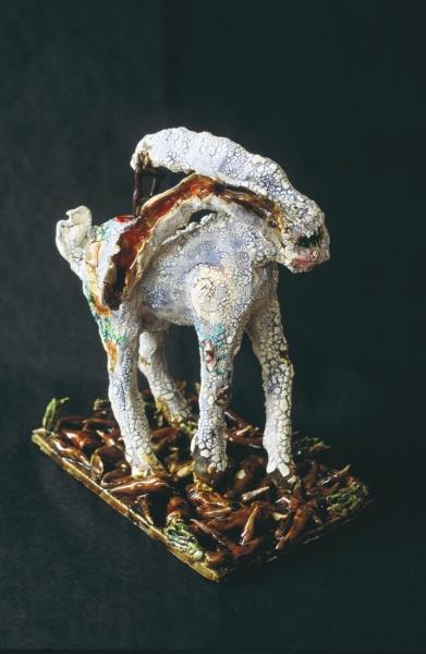 "Rabbit Run. glazed earthenware. 14x12x6"""