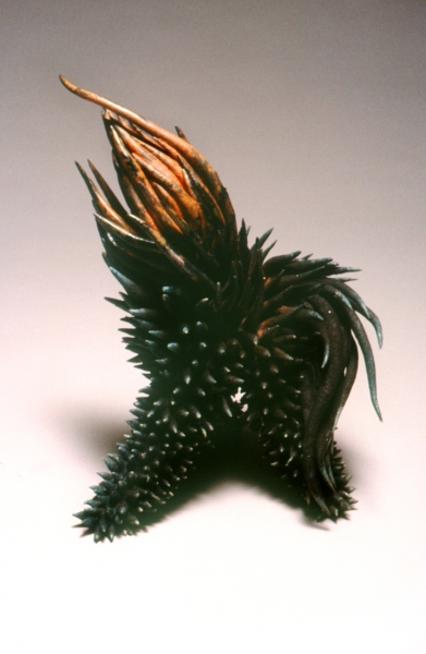 Sea Urchin, Raku fire glazd earthenware. 14x11x9""
