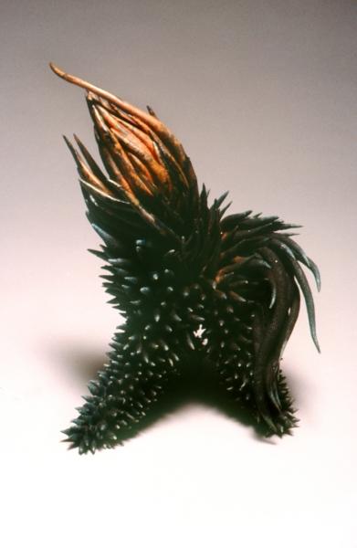 "Sea Urchin, Raku fire glazd earthenware. 14x11x9"""