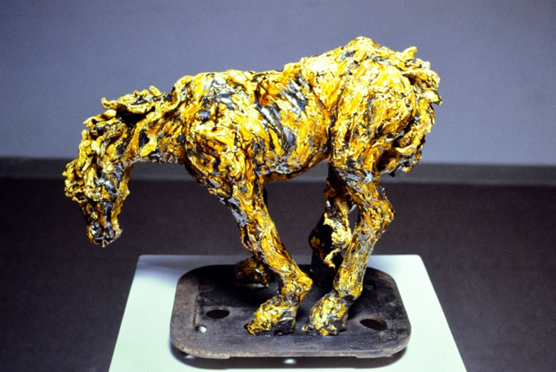 """Weeping Wind, amber glazed earthenware. 18x23x7"""" Private Collection"""