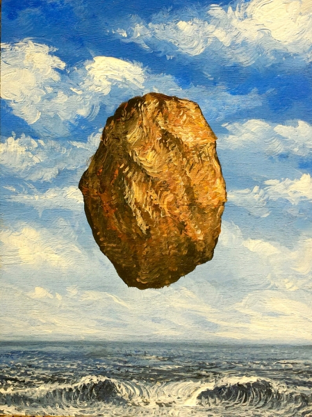 """Rock Tide --This is Not a Potato -study after Magritte, acrylic on wooden panel (Private Collection). 6x8"""""""