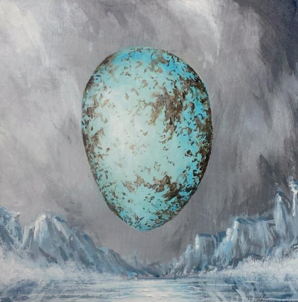 "Snow Egg, acrylic on wooden panel. 6x6"""