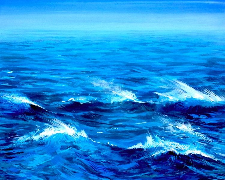 """Blue Tide, acrylic on wooden panel. 16x20"""""""