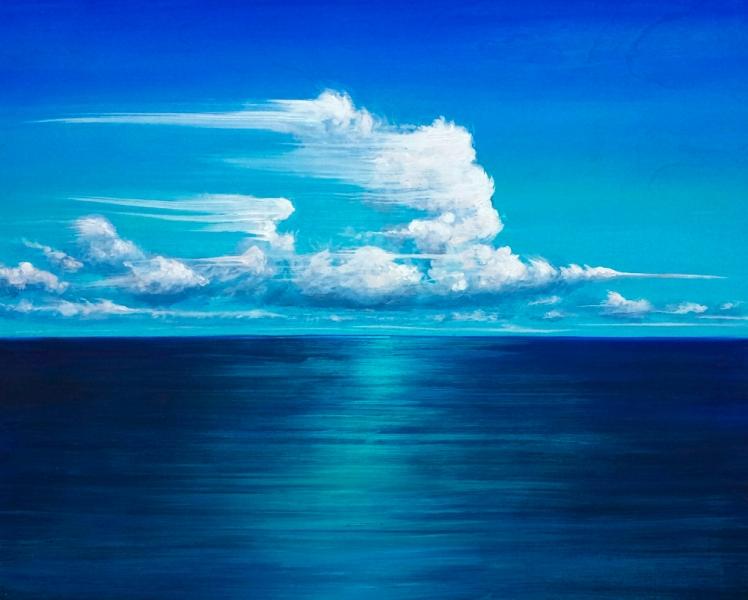 "Blue Wind, acrylic on wooden panel. 16x20"""