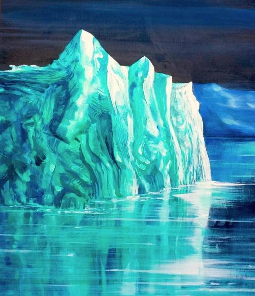 "Malachite Iceberg, acrylic on wooden panel. 16x20"""