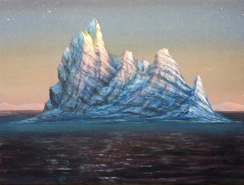 """Tundra Iceberg Sunset, acrylic on wooden panel. 18x24"""""""