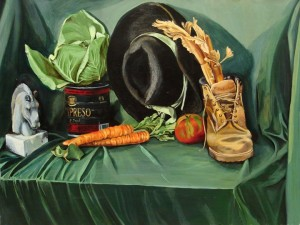 "Tertiary and Complimentary Color Still-Life, acrylic on canvas. 22x30"" Beginning Painting"