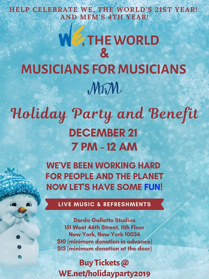 MFM and We, The World Holiday Party and Benefit