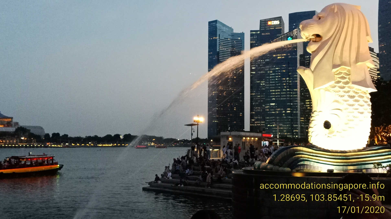 Map to Merlion Marina Bay Singapore