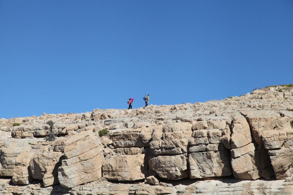 Hassan and Nadine approaching the descent point