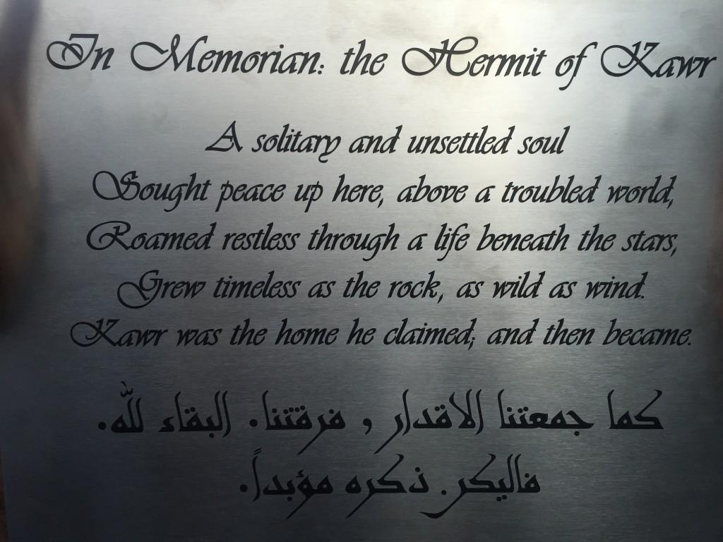 Memorial plate, beautifully written by Will Hardie.