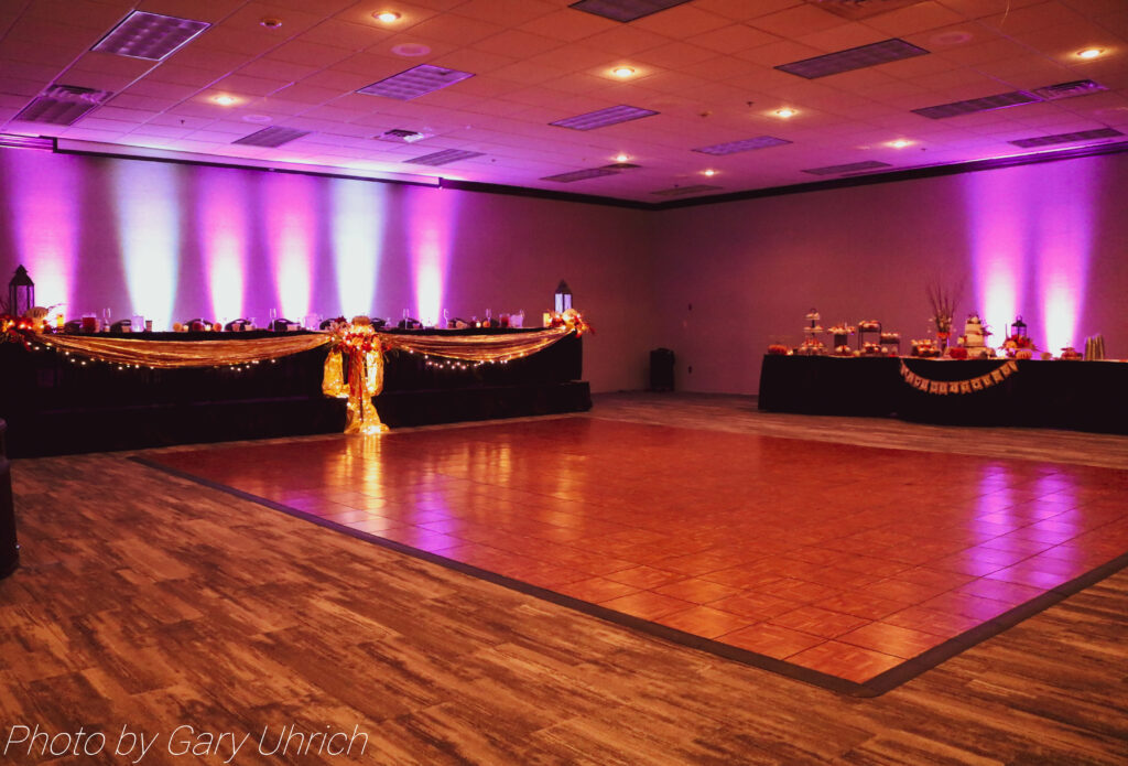 Wedding decor, uplighting, dance floor.  The DJ Music System, DJ Gary Uhrich.  Wedding Reception.