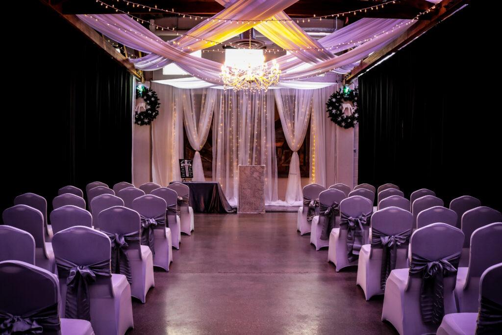 Wedding Ceremony Setup, Chair Covers, Draping, Chandelier, Draping, Weborg 21 Centre, Gering, Nebraska