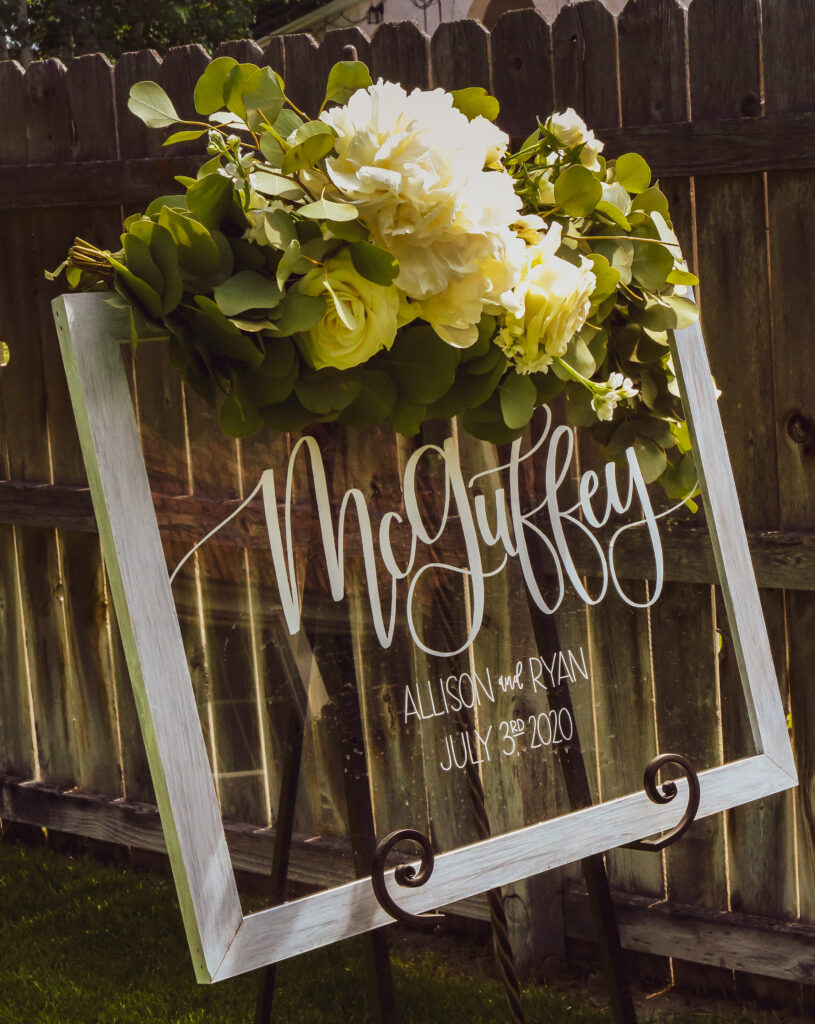 Wedding Sign Beautiful Backyard Wedding Scottsbluff Nebraska COVID Rescheduled Wedding The DJ Music System Scottsbluff Nebraska