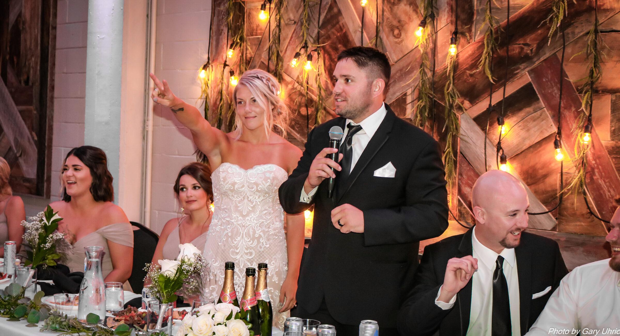 Wedding Speeches Toast Wedding Party Back Drop Market Lights Wedding Dress Tuxedo Weborg 21 Centre Gering Nebraska