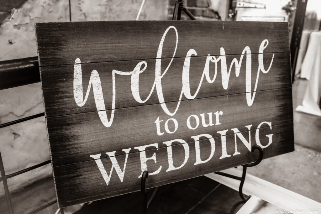 Candice Sean Weborg 21 Centre The DJ Music System Wedding Welcome Sign