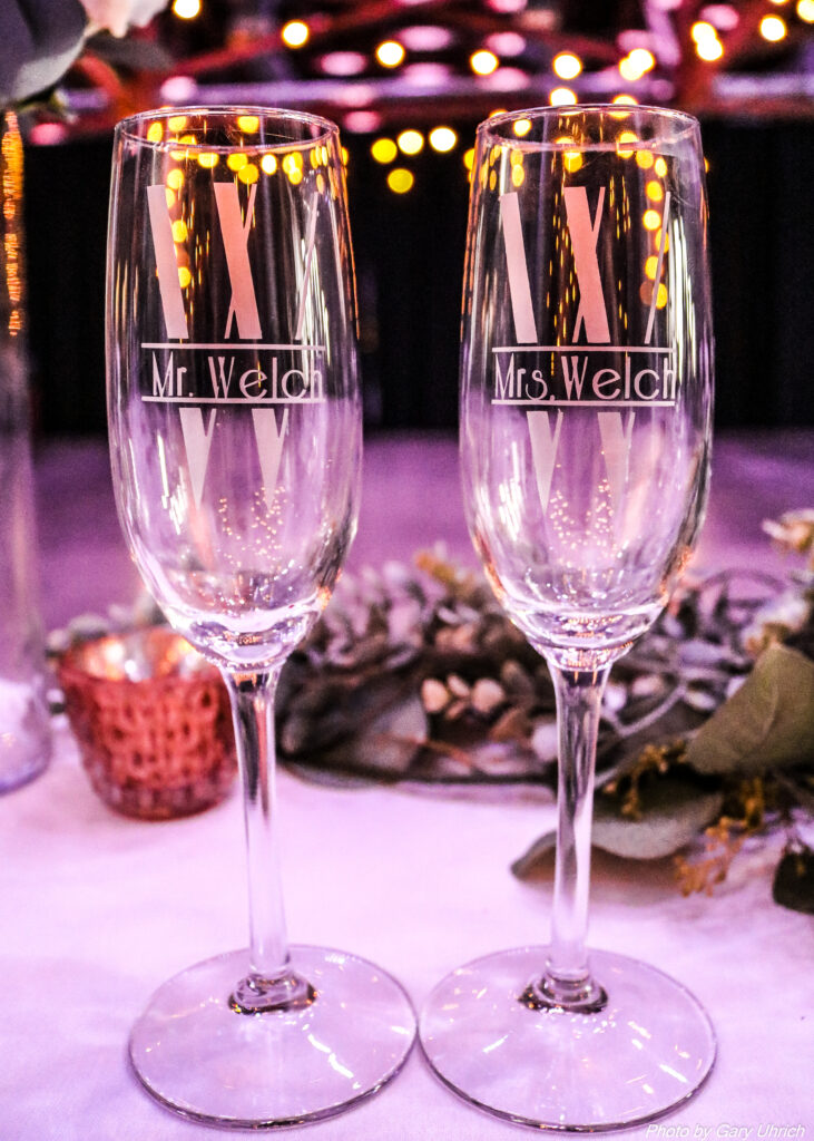 Candice Sean Weborg 21 Centre The DJ Music System Custom Made Champagne Glasses