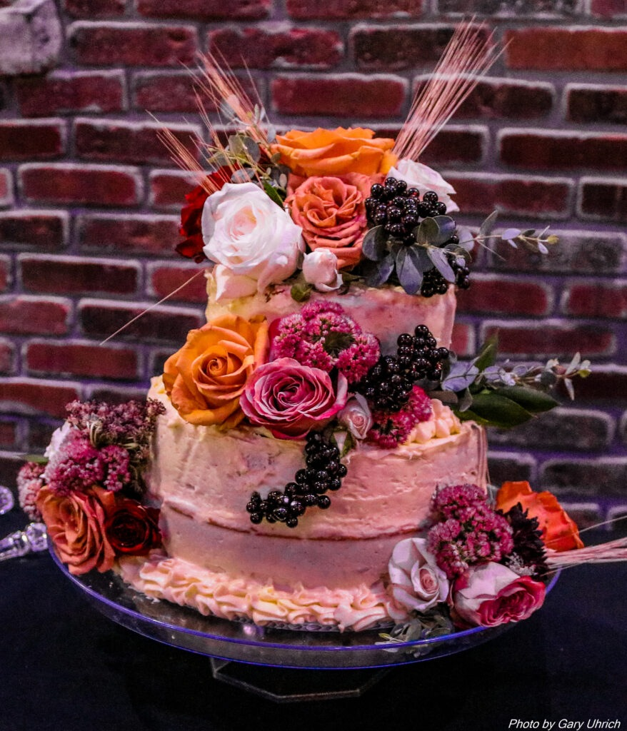 Wedding Cake, Frosting, Flowers, Cake Stand, Bricks, Fruit, Weborg 21 Centre Gering Nebraska Gary Uhrich Photographer Photography