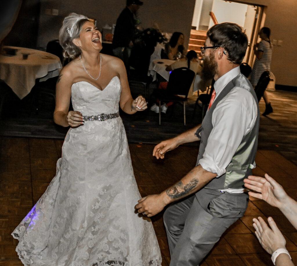 Happy bride and son