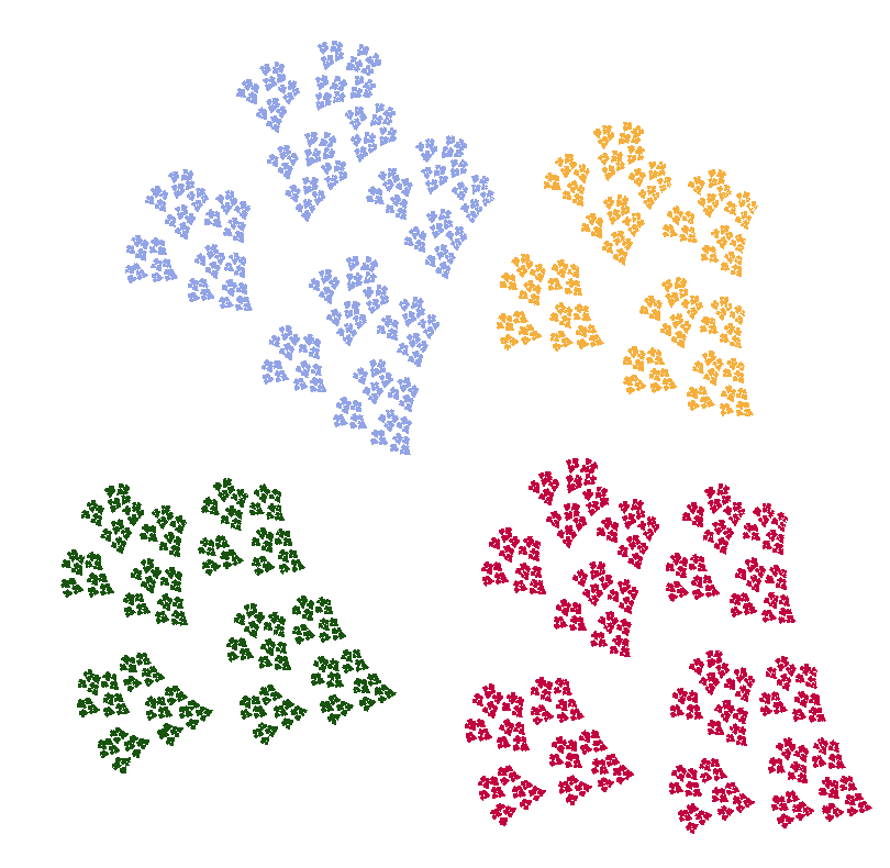 An IFS fractal made from four copies of itself.