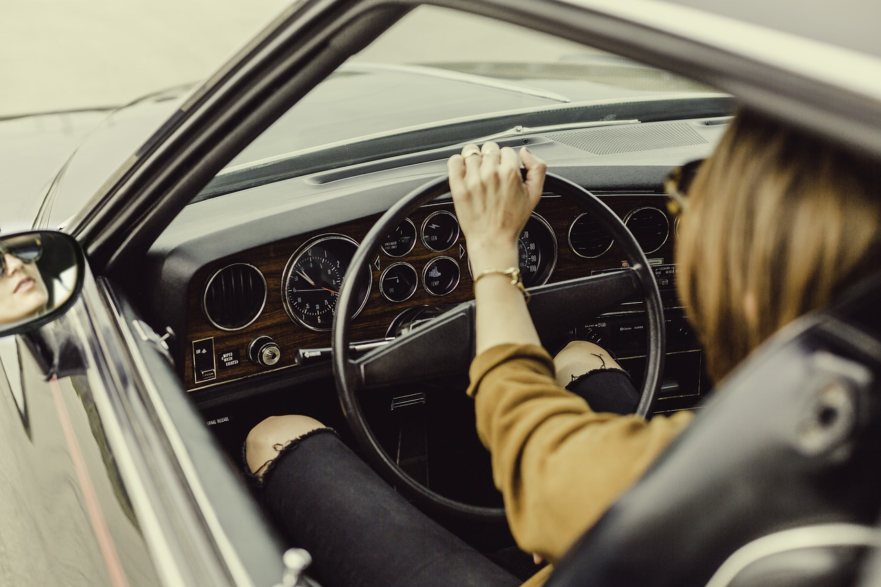 Closeup Over the Shoulder of Woman Driving