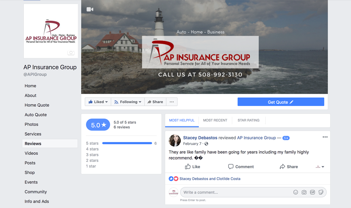 AP Insurance Group Facebook Page Screenshot