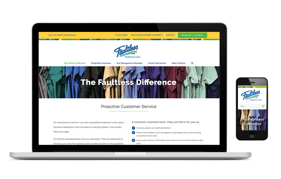 SW Client - Faultless Linen - Website Development - SERVICES INCLUDED: BRANDING • STRATEGIC PLANNING • PUBLIC RELATIONS • DESIGN • DIGITAL