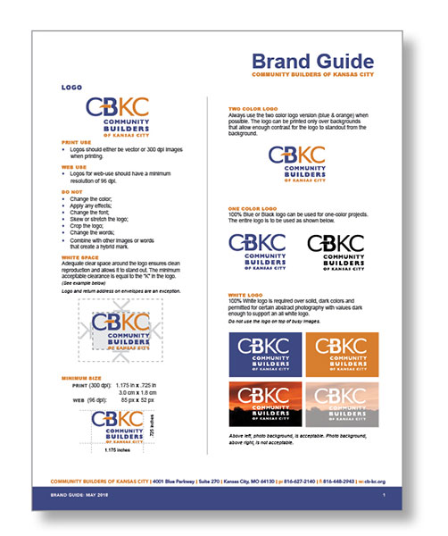 SW Client - Community Builders of Kansas City (CBKC) Brand identity SERVICES INCLUDED: BRANDING • STRATEGIC PLANNING • PUBLIC RELATIONS • DESIGN • DIGITAL