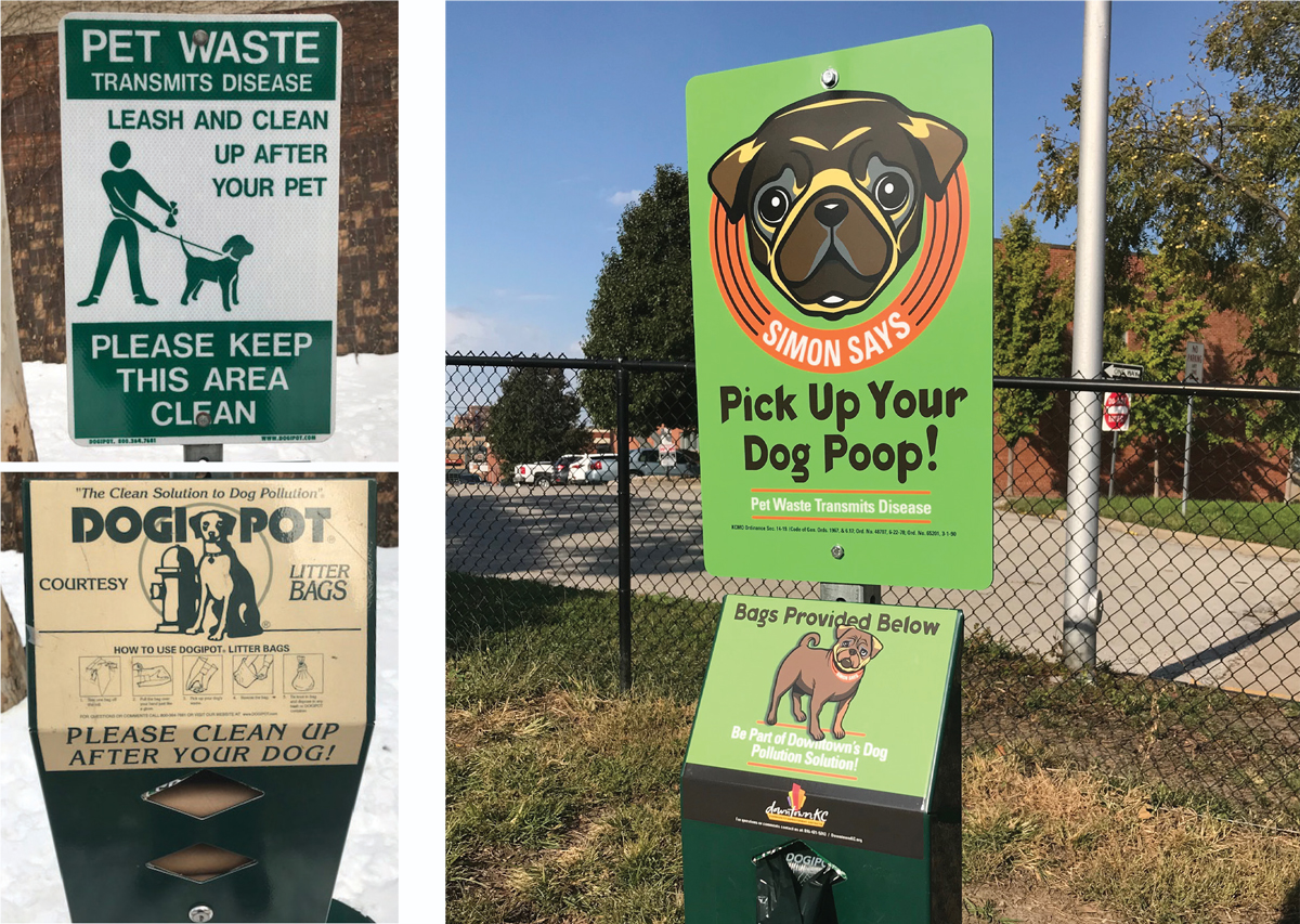 Before and after - signage in the Downtown and River Market area