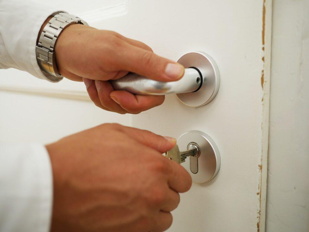 close up, door, key
