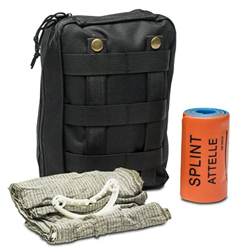 First Aid Kit – Includes Splint & Israeli Bandage – Fully Stocked for IFAK,  Military, First Responder, Medic Bag, Tactical, Survival, Camping,