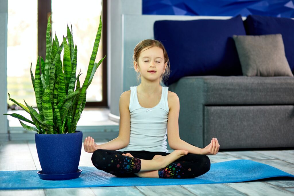 Little girl meditating in lotus pose with closed eyes