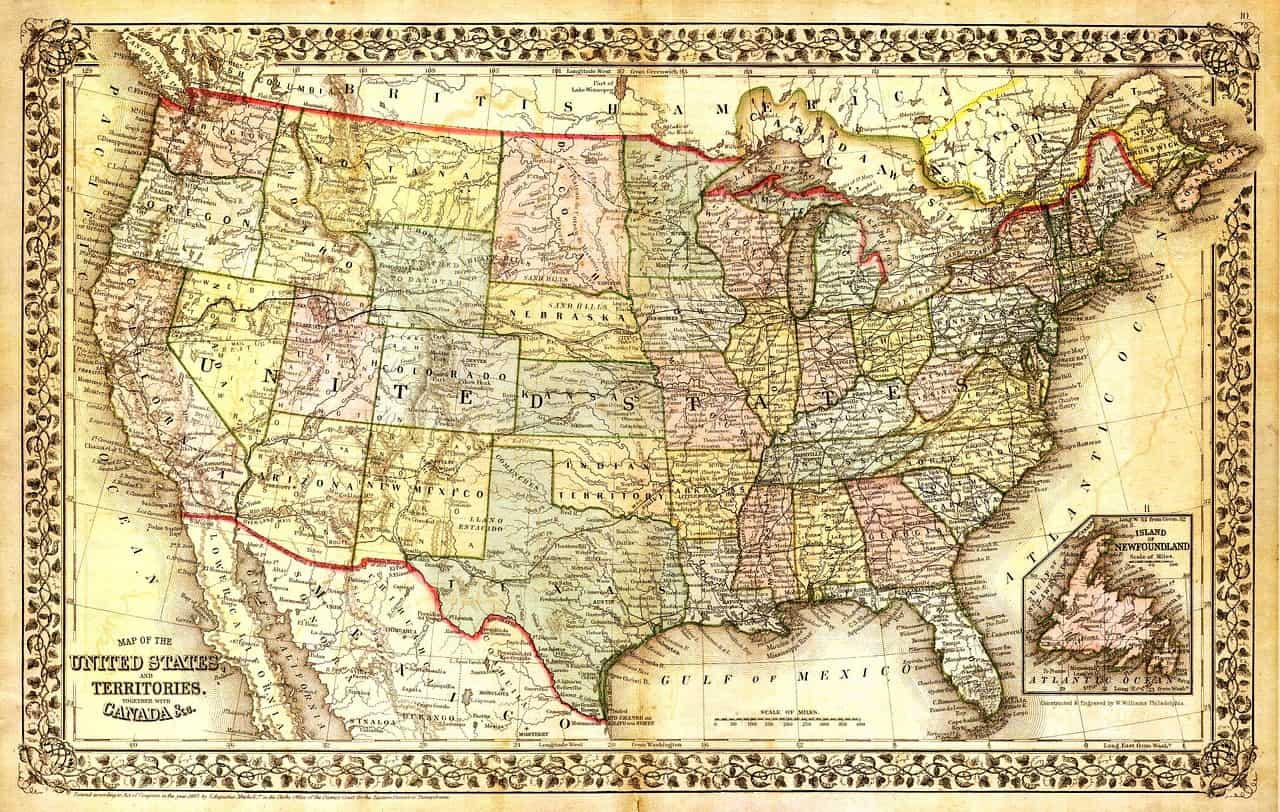 American map. Long distance movers