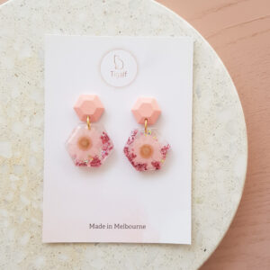 Flowerly Earring – Pink Hexagon Earring