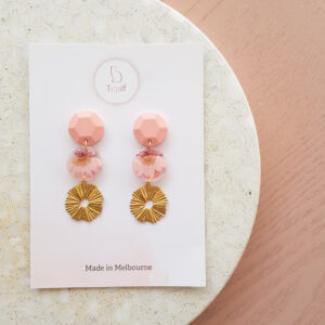 Flowerly – Pink Round drop earring