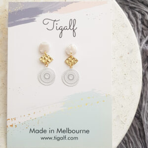 Dainty Earring – White Mini Round Drop