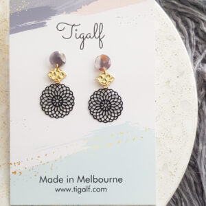 Black Round Drop Earring